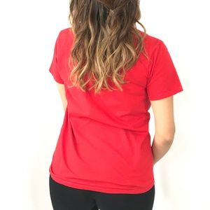 """Peanuts Tops - PEANUTS Red Graphic Tee """"Chill"""" Short Sleeve Shirt"""